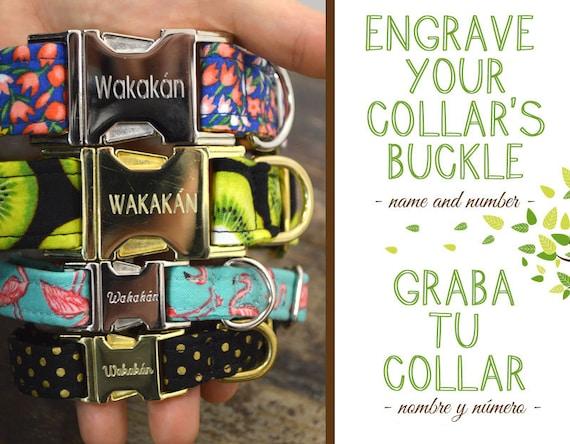 Engraved Dog Collar Buckle UPGRADE. Name and number. Wakakan