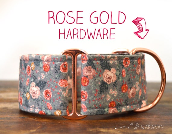 Martingale dog collar model Antique Roses. Adjustable and handmade with 100% cotton fabric. Flowers, Spring Wakakan