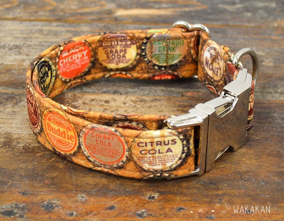 Soda dog collar adjustable. Handmade with 100% cotton fabric. Vintage pattern, retro. Wakakan