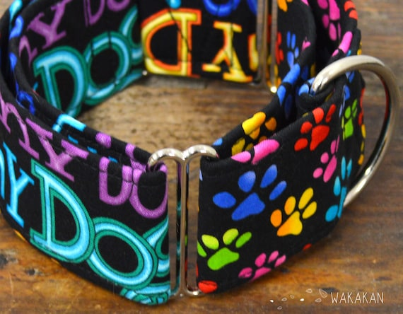 Martingale dog collar model Dog Love. Adjustable and handmade with 100% cotton fabric. I love my dog letters Wakakan