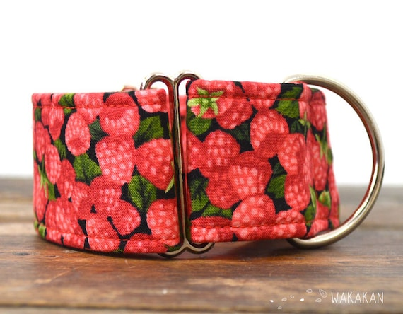 Martingale dog collar model Raspberries. Adjustable and handmade with 100% cotton fabric. Berries Wakakan