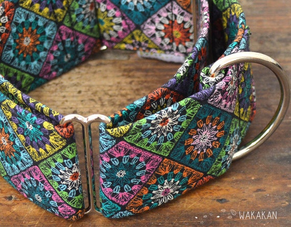 Martingale dog collar model Crochet. Adjustable and handmade with 100% cotton fabric. vintage gannies Wakakan