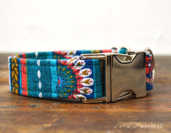 Beautiful Garden Orange dog collar. Adjustable and handmade with 100% cotton fabric. stripes design Wakakan