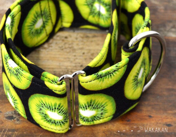 Martingale dog collar Kiwi. Adjustable and handmade with 100% cotton fabric. kiwifruit and green polka dots pattern Wakakan