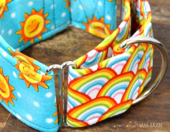 Martingale dog collar model Sunny Day. Adjustable and handmade with 100% cotton fabric. Sun and rainbow. Wakakan