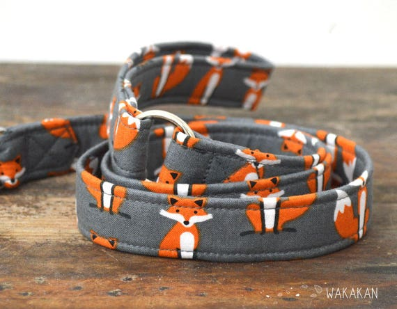 Leash for dog model Fancy Fox. Handmade with 100% cotton fabric and webbing. Two width available. Wakakan