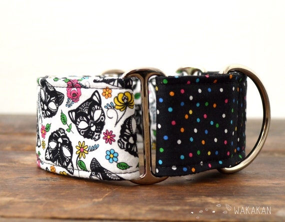 Martingale dog collar model Carnival. Adjustable and handmade with 100% cotton fabric. Cat mask, flowers Wakakan