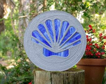 Blue Scallop Shell Stained Glass Stepping Stone #871
