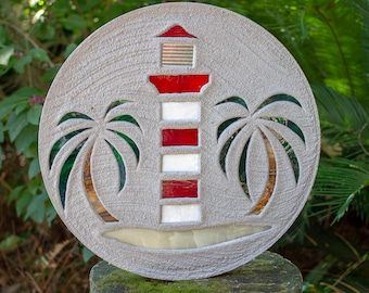 Red & White Lighthouse Stepping Stone