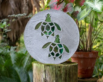 Baby Sea Turtles Hatchlings Stained Glass Stepping Stone #883