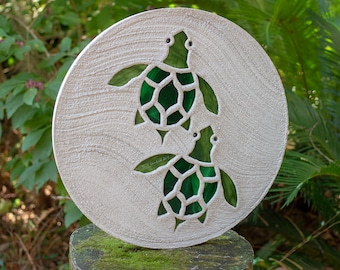 Baby Sea Turtles Hatchlings Stained Glass Stepping Stone #888