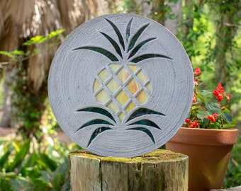 "Pretty Pineapple Stained Glass Stepping Stone, Welcome Guests to Your Garden, Patio or Back Yard With This Large 18"" Diameter Stone, #738"