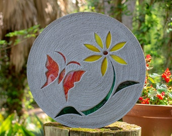 Red Butterfly With Yellow Daisy Stepping Stone #830