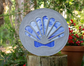 Blue Scallop Shell Stained Glass Stepping Stone #873