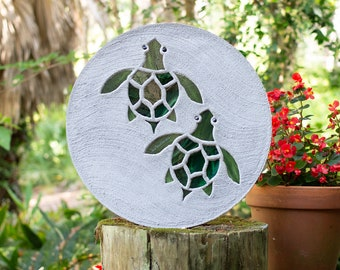 Baby Sea Turtles Hatchlings Stained Glass Stepping Stone #860