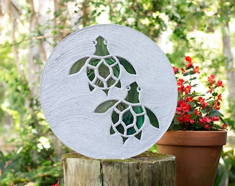 Baby Sea Turtles Hatchlings Stained Glass Stepping Stone #862