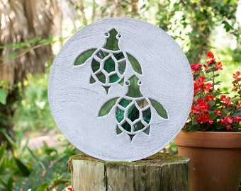 Baby Sea Turtles Hatchlings Stained Glass Stepping Stone #861