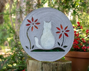 White Kitty Cat Stepping Stone
