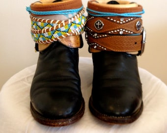 SOLD -Boots 5 1/2C Boots - dark brown made with beautiful fabrics -  made directly from Nashvile, TN