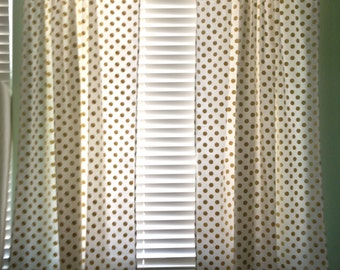 White With Gold Dots Curtains Panels Michael Miller Glitz