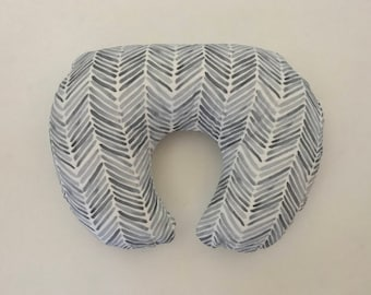 READY TO SHIP Boppy Cover - Grey Watercolor Herringbone