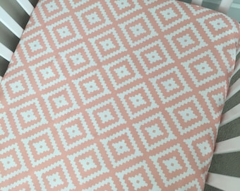 Crib Sheet - Pink Aztec