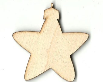 Star Ornament Unfinished Wood Laser Cut Out Shape Craft Supply XMS48