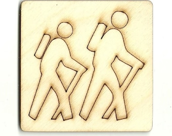 Hiking Sign Unfinished Wood Laser Cut Out Shape Craft Supply TRP31