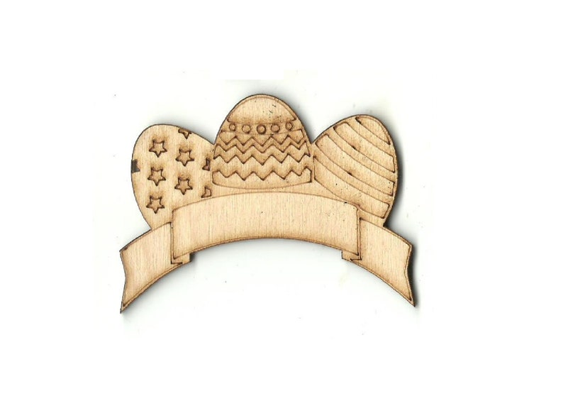 Easter Eggs with Banner Laser Cut Out Unfinished Wood Shape Craft Supply ESR24