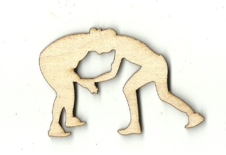 Laser Cut Out Unfinished Wood Shape Craft Supply SPT125 Wrestlers