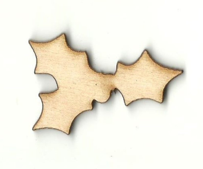 Holly /& Berries Laser Cut Out Unfinished Wood Shape Craft Supply XMS74