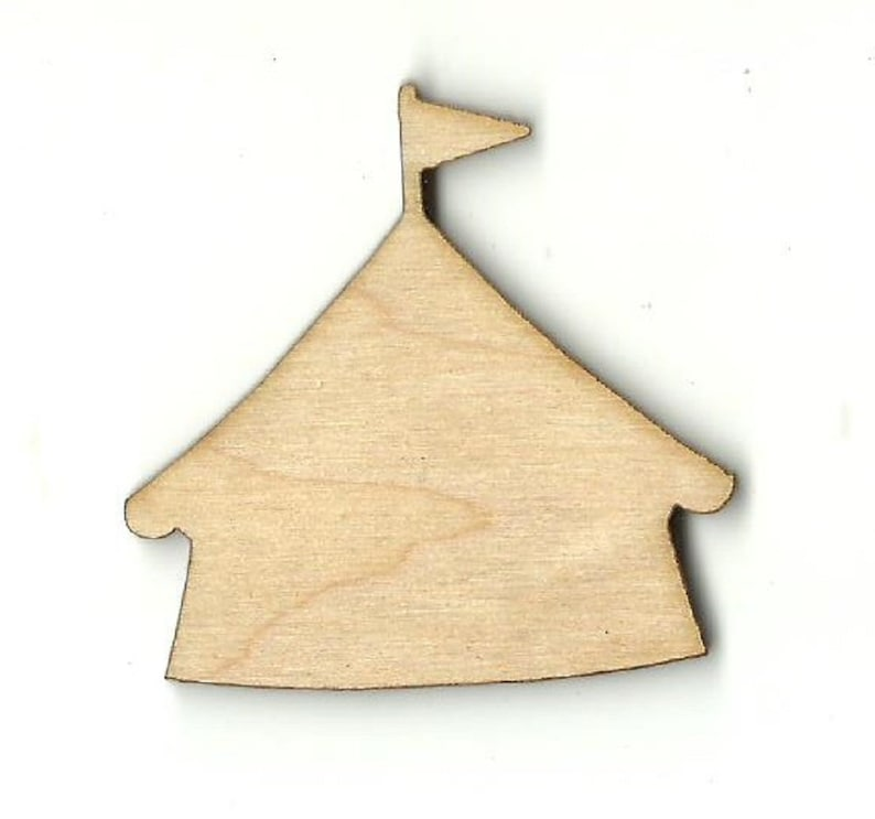 Laser Cut Out Unfinished Wood Shape Craft Supply CRC8 Circus Tent