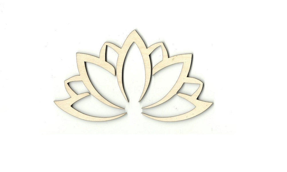 Lotus Flower Laser Cut Out Unfinished Wood Shape Craft