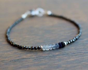 Sapphire Bracelet, Hematite Beaded Bracelet, Edgy Bracelet, Womens Beaded Beadwork Bracelet, Boho Chic Gemstone Bracelet, Gift For Her