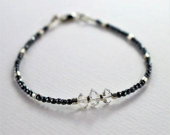 Hematite Beaded bracelet, Edgy Bracelet, gemstone beaded bracelet, womens stacking bracelet, crystal quartz bracelet, Hematite Jewelry