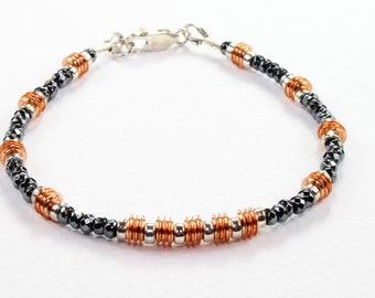 Copper and Hematite Beaded Bracelet, Boho Chic gemstone Stacking Bracelet, Edgy Modern Bracelet, Contemporary beaded bracelet, gift for her