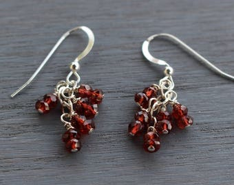Garnet Beaded Earrings, Silver and Garnet Earrings, Garnet Cluster Earrings, Delicate Modern Gemstone Earrings, January Birthstone