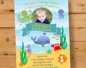 Under The Sea Birthday Invitation First Invite Party Boy 1st