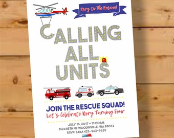 Boy birthday invitations etsy firetruck birthday invitation emergency vehicles birthday boy birthday invitations police car rescue cars invite police birthday party filmwisefo