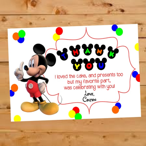 Mickey Mouse Thank You Card Mickey Mouse Birthday Thank You Mickey
