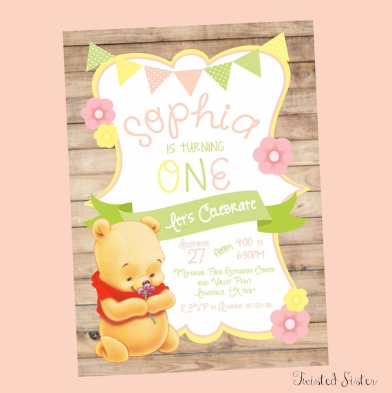 Winnie the pooh invitations first birthday invitation first etsy image 0 filmwisefo