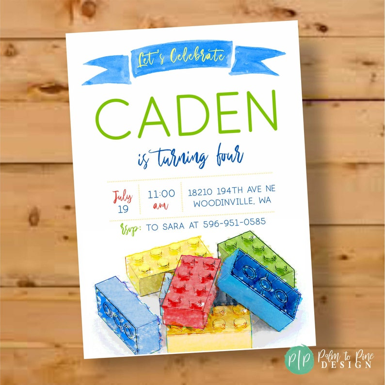 Lego Invite Birthday Invitation Party Boy Watercolor