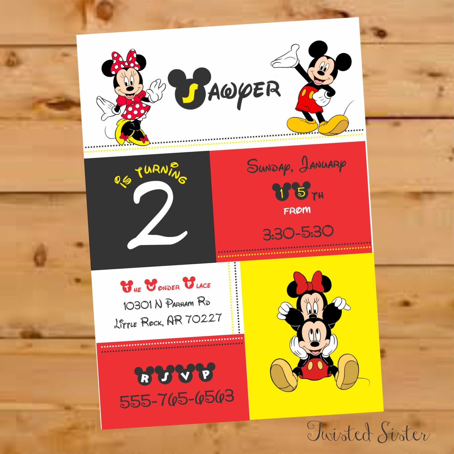 Mickey Mouse Birthday Invite Mickey Mouse Invitation Mickey Etsy