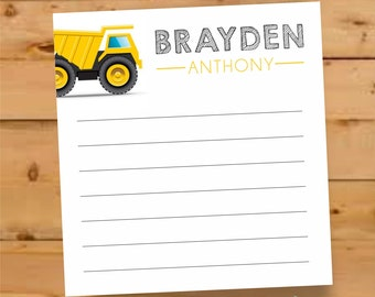 Personalized Notepad for boys, notepad for little boy, Personalized Notepad, construction gifts for boys, personalized gift for boys, digger