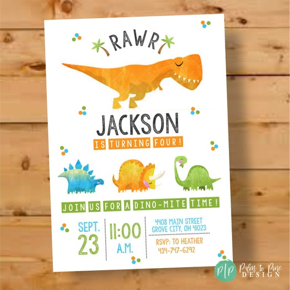 Dinosaur Birthday Invite Invitation