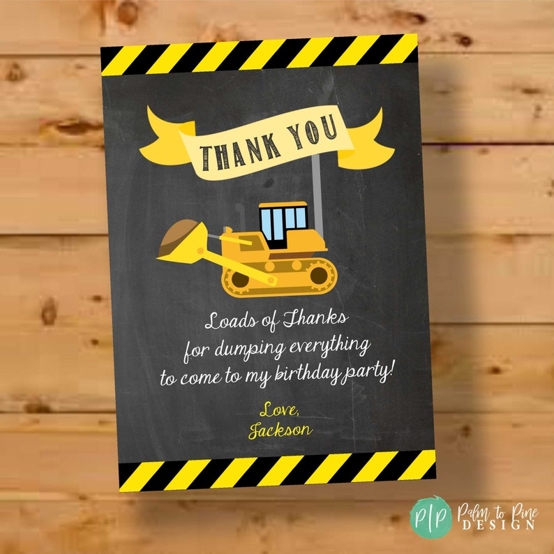 Construction Thank You Card Construction Birthday Thank You image 0