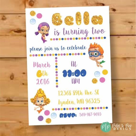 Bubble Guppies Birthday Invitations