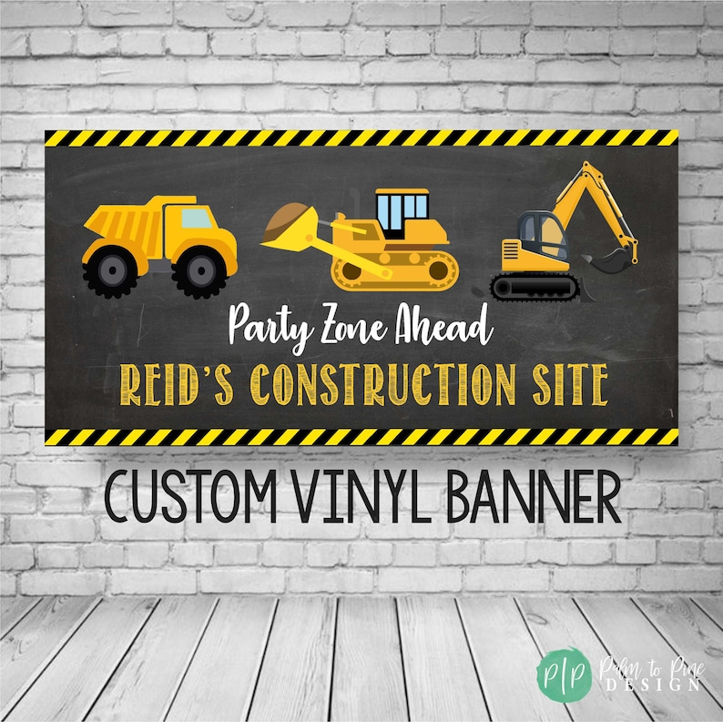 Construction Birthday Banner Construction Party Decor image 0