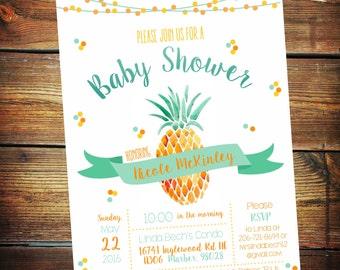 Pineapple Invitation, Pineapple Baby Shower Invitation, Pineapple Baby Shower, Luau Baby Shower invitation, Pineapple Invite, Bridal Shower
