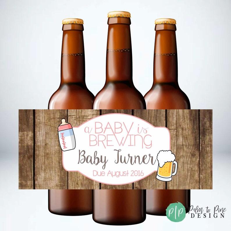 A Baby is Brewing Beer Bottle Labels Baby Shower Beer Bottle image 0